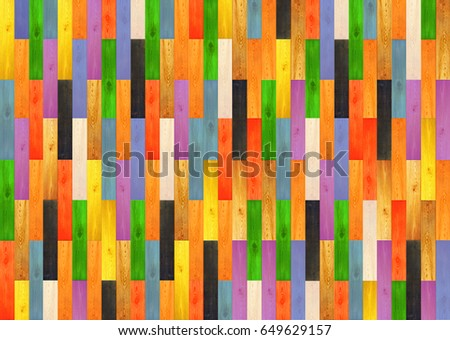 Multicolored wooden texture. Parquet from wooden multicolored pattern. Multicolored wooden parquet on the floor. Fragment of parquet floor #649629157