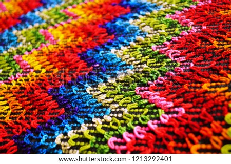Multicolored zigzag patterns on traditional shawl in Moldova	 #1213292401