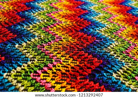Multicolored zigzag patterns on traditional shawl in Moldova	 #1213292407