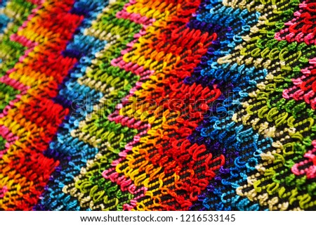 Multicolored zigzag patterns on traditional shawl in Moldova			 #1216533145
