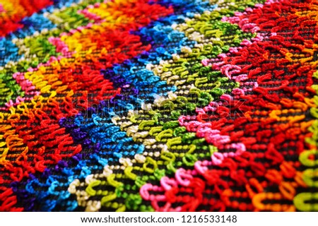 Multicolored zigzag patterns on traditional shawl in Moldova			 #1216533148