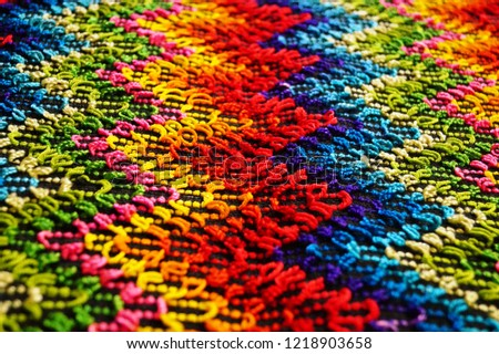Multicolored zigzag patterns on traditional shawl in Moldova			 #1218903658