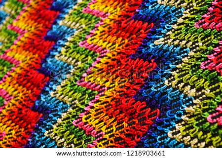 Multicolored zigzag patterns on traditional shawl in Moldova			 #1218903661
