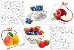 Multicolour kitchen in fresh fruits with cups in fruits, strawberry apples grapes orange fresh with spoon,