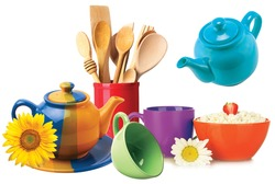 Multicolour kitchen set with white background, multicolour background designs,