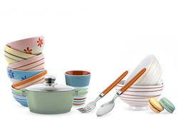 Multicolour kitchen set with white background, multicolour cup spoon biscuits ,