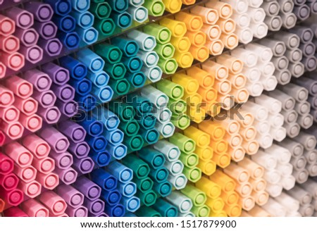 multicolour marker pens background.  marker pens in shelf.
