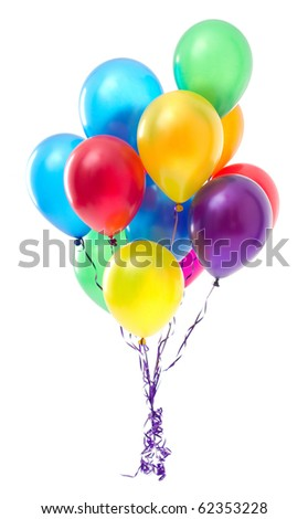 Multicoloured balloons on white background