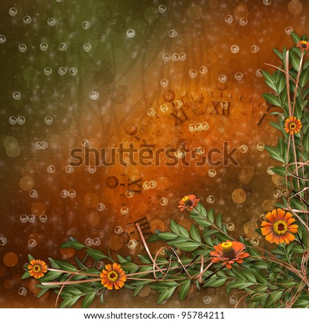multicoloured card for greeting or invitation with bunch of flowers