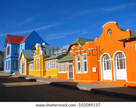 Multicoloured houses in Nachtigal Strasse, Luderitz, Namibia