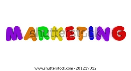multicoloured marketing fridge magnet letters isolated on white