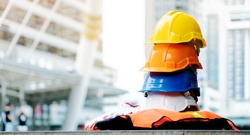 Multicoloured Safety Construction Worker Hats. Teamwork of the construction team must have quality. Whether it is engineering, construction workers. Have a helmet to wear at work. For safety at work.
