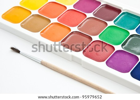 Multicoloured  watercolour paint on white background