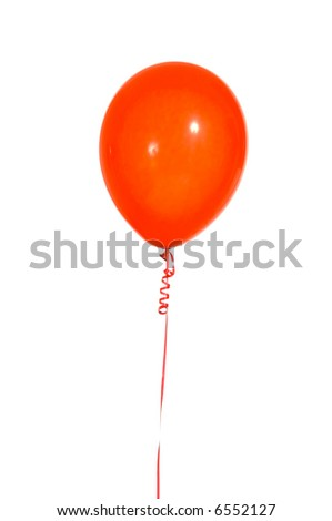 Multicolred party balloons on strings with a white background