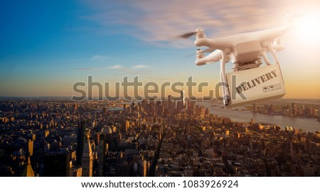 Multicopter Drone flying with package over the cityscape of lower Manhatten, New Yor City
