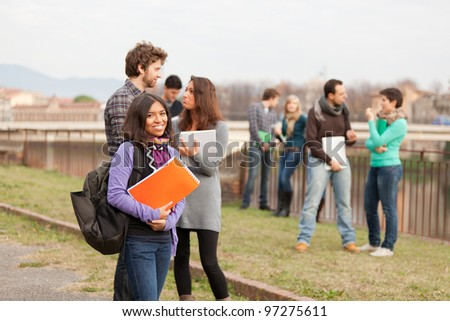 Multicultural College Students at Park