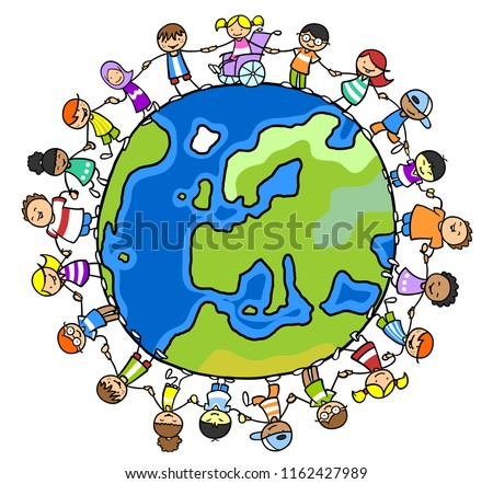 Multicultural group of children hold hands around a world globe as integration and inclusion concept