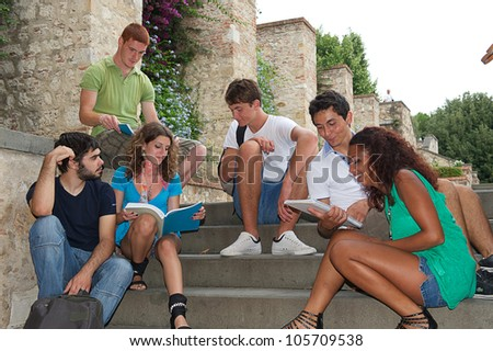 Multicultural Group of College Students,Italy