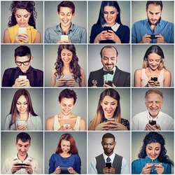 Multicultural group of people using smart phone