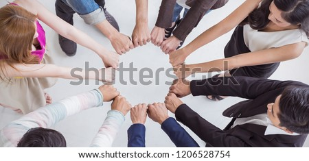 Multicultural hands synergy brainstorm group of business man woman in circle top view. Support helping teamwork together international diversity harmony education people concept panoramic banner