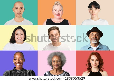 Multicultural people closeup portrait on colorful background set