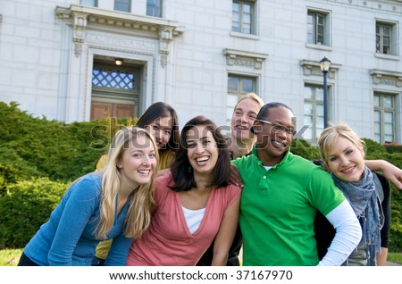Multicultural students on campus