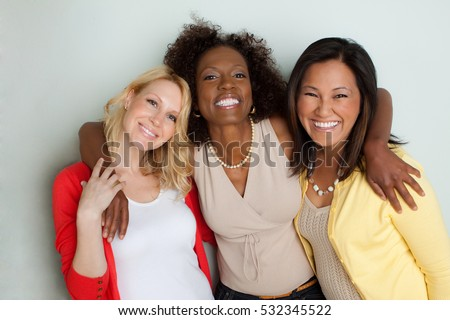 Multicultural woman smiling.