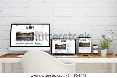 multidevice desktop with responsive news websiteon screens. 3d rendering. - Shutterstock ID 644954773