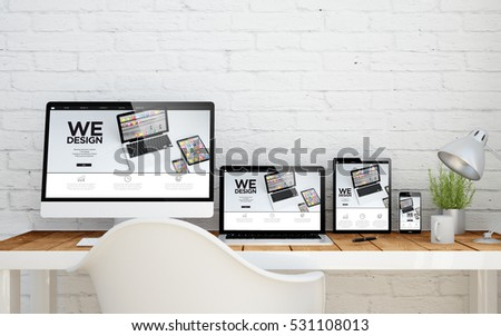 multidevice desktop with web design website on screens. 3d rendering. - Shutterstock ID 531108013