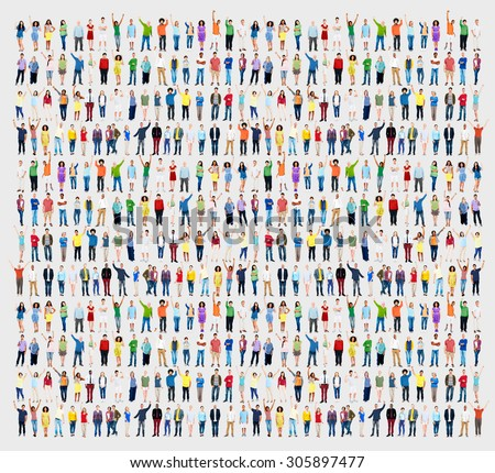 Multiethnic Casual People Togetherness Celebration Arms Raised Concept #305897477