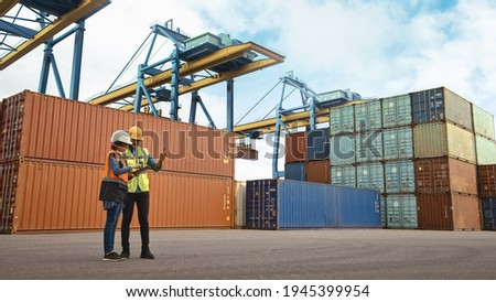 Multiethnic Female Industrial Engineer with Tablet and Black African American Male Supervisor in Hard Hats and Safety Vests Stand in Container Terminal. Colleagues Talk About Logistics Operations. Foto stock ©