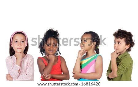 multiethnic group of children thinking a over white background
