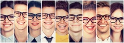 Multiethnic group of happy young people in glasses men and women