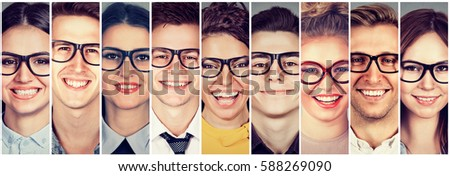 Multiethnic group of happy young people in glasses men and women  #588269090