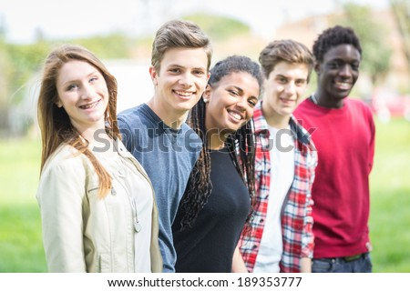 Multiethnic Group of Teenagers Outdoor #189353777