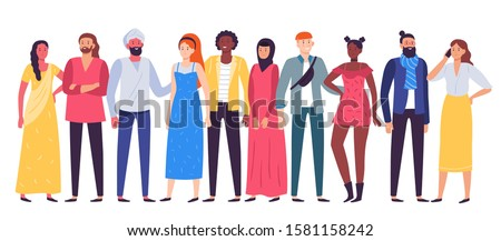 Multiethnic people group. Workers team, diverse people standing together and coworkers in casual outfit. Multicultural work corporate resources characters posing flat  illustration