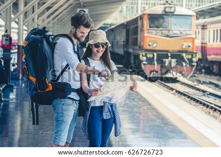 multiethnic travelers are...