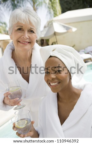 Multiethnic women in bathrobe