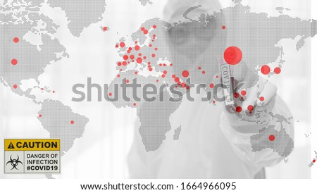 multiexposure of world map with red dots of coronavirus covid 19 infected countries and coronavirus covid 19 scientist holding coronavirus infected blood sample, coronavirus covid world pandemic