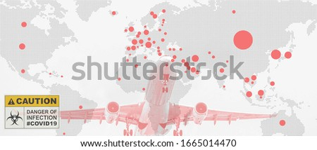 multiexposure of world map with red spots of coronavirus covid 19 infected countries with taking off airplane and coronavirus covid 19 caution sign, coronavirus covid 19 world pandemic