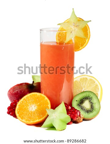 Multifruit juice with differnt fruits isolated on white background