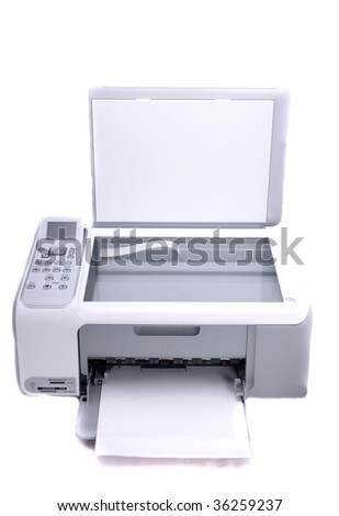 Multifunction printer isolated in white background