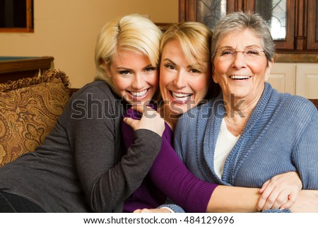 Multigenerational family. Grandmother with her children.