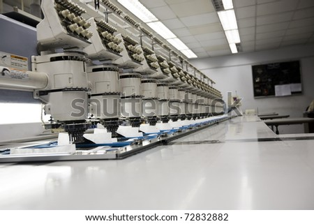 multihead embroidery machine at a textile mill.