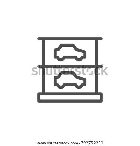 Multilevel parking icon isolated on white