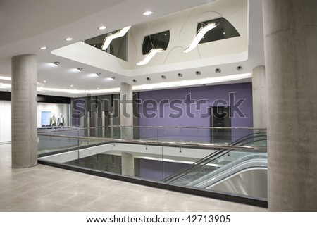 multilevel shopping mall - stock photo