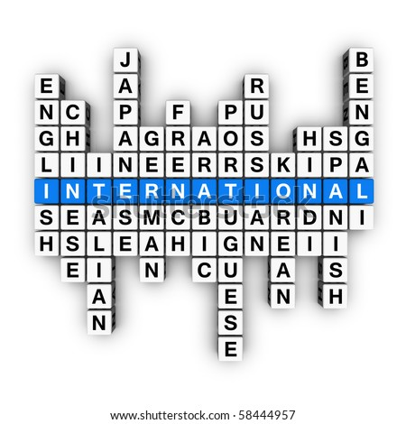 multilingual concept  (blue-white cubes crossword series)