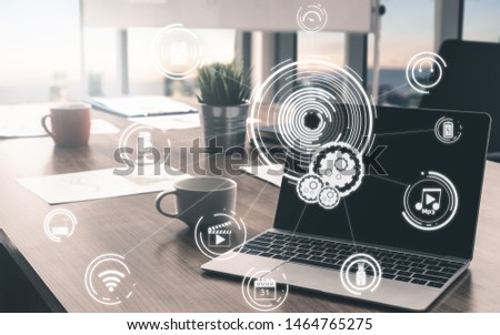 Multimedia and Computer Applications Concept. Business people using technology of digital gadget with modern graphic interface showing social, shopping, camera and multimedia application on device. #1464765275