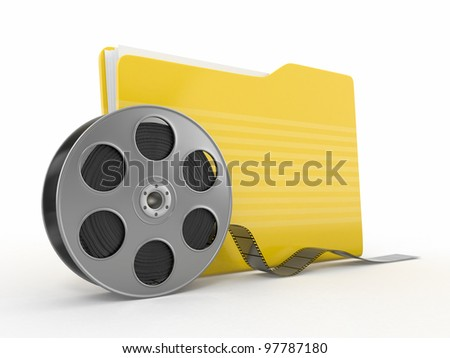 Multimedia archive. Film reel and folder.3d