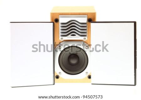 multimedia black audio speaker background music loudspeaker case dvd isolated on white